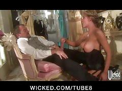 Hot bigtit blonde slut in lingerie fucked by hard dick to orgasm