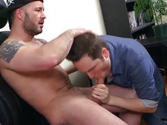 Horny dude sucks a stud's hard rod of meat