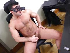 Maskurbate model randy strips and jerks off.
