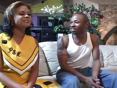 Giant black cock banging naughty ebony cheerleader