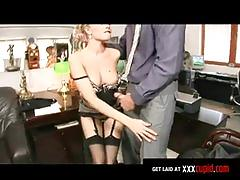 Donna bell gets fucked at the office by her boss nick lang
