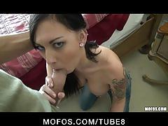 Horny bigtit brunette slut girlfriend fucks hard stranger's dick