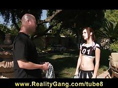 Horny brunette teen slut cheerleader fucked by her coach outdoors