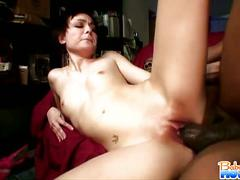 Zoe voss rides monster black dick on sofa.
