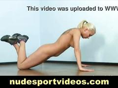 Blonde does naked exercises