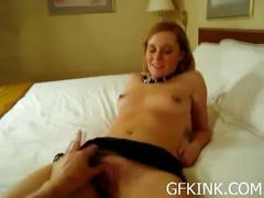 Sexy amateur housewife gets her pussy rubbed
