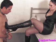 British femdom forces sub to worship boots