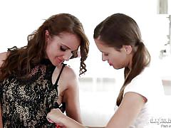 Hot lesbian babes touch each other