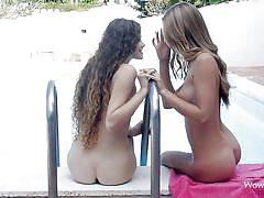 lesbians, outdoor, kissing, babes, brunette, natural boobs, swimming area, tits licking, wow porn, anjelica, vanessa xxxxxxxx