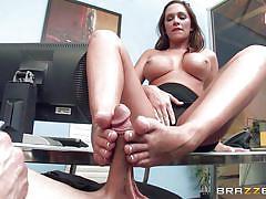 milf, footjob, high heels, big boobs, rubbing, pierced nipples, nipples sucking, tit licking, big tits at work, brazzers network, bill bailey, destiny dixon