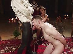 threesome, bdsm, vibrator, masturbating, blindfolded, busty milf, gays, gay blowjob, sexy lingerie, on leash, divine bitches, kink, chanel preston, john smith, jimmy bullet