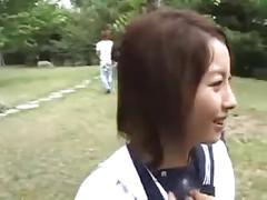 Naughty asian girl in school uniform