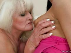Blond granny and cute brunette enjoysing hot sex