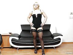 blonde, mature, high heels, pussy gaping, sucking vibrator, black stockings, czech cougar, black vibrator, czech cougars, sandy xxxx