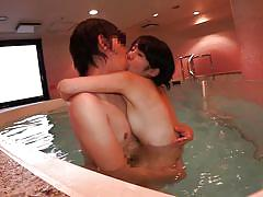 Bitch with small tits gets fucked in the jacuzzi