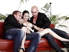 threesome, babe, maid, blowjob, busty, pussy licking, sofa, pussy rubbing, doghouse digital, mira cuckold, thomas lee, neeo a