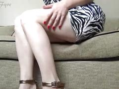 Lady fyre perfect legs, ass and feet in purple wedges