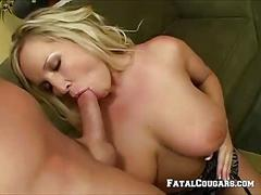 Horny mature blonde enjoys a big cock