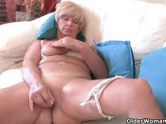 Chubby grandma with big old tits fucks a vibrator