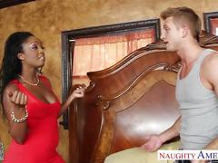 Ebony gf in red dress layton benton gets pussy nailed