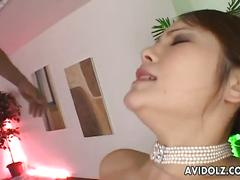 Busty japanese slut gets banged from both ends