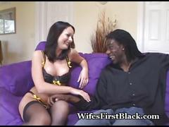 stockings, interracial, blowjob, brunette, homemade, wife, busty, bigtits, bigcock, blackcock