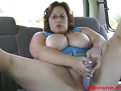 Nikki car fucks her soaking pussy in public