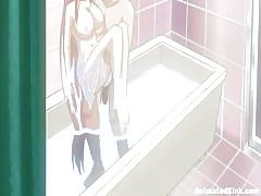 hentai, blowjob, shower, pussy licking, big breasts, tits licking, tits squeezing, animated, standing pose, animated kink, kink