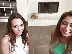 Two hot brunettes share a dick