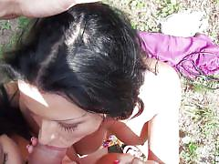 young, threesome, outdoor, hand job, for money, pick up, black hair, pov, dick sucking, big breasts, public pickups, mofos network, kira queen, grace joy