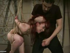 Hot redhead getting bondaged and fucked