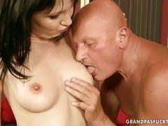 Teen enjoying sex with grandpa