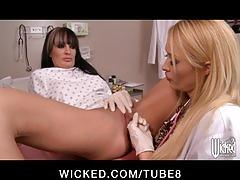 Bigtit blonde slut doctor takes advantage of her busty  patient