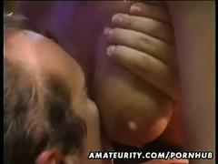 Busty amateur wife sucks and fucks with cumshot on her big tits
