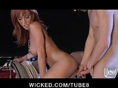 Bigtit redhead wife slut fucks harddick outdoors in tight pussy