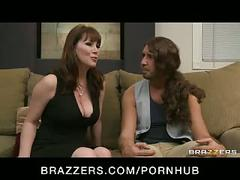 Cheating big-tit brunette milf slut fucks daughter's bf's big-dick