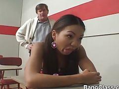 Hot schoolgirl riding a teacher's cock