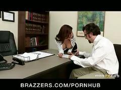 Big-tit brunette latina boss fucks employee's hard-dick in office