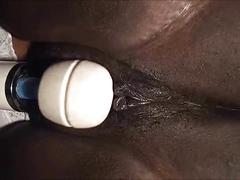 Black milf squirting pussy closeup - amateur