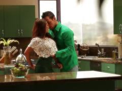 Redhead and boyfriend's kitchen fun