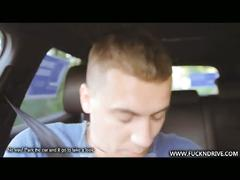 Big tits brunette bombshell sucking cock in car