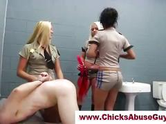 Dirty femdom prison babes fuck guy