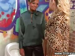 Lesbians thirsty for bukkake