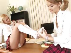 Lesbian schoolgirl foot fetish sex