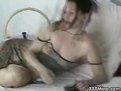 Webcam milf masturbates and sucks cock