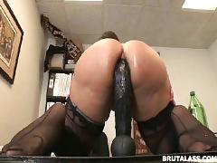 masturbation, toys, anal, brutalass, adult-toys, sex-toy, ass-fucking, masturbate, masturbating, solo, butt-plug, stockings, huge-dildo, riding, brunette, cougar, mature, huge-tits