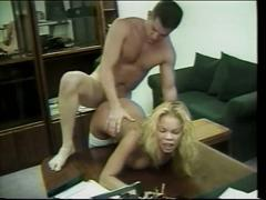 Blonde chick with stockings gets fucked on work desk