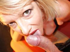 Big titted blonde milf sucks and fucks in pov