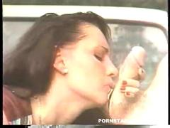cumshot, hardcore, outdoor, interracial, blowjob, brunette, threesome, pussyfucking, truck