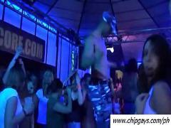 Hardcore girls dancing at night club